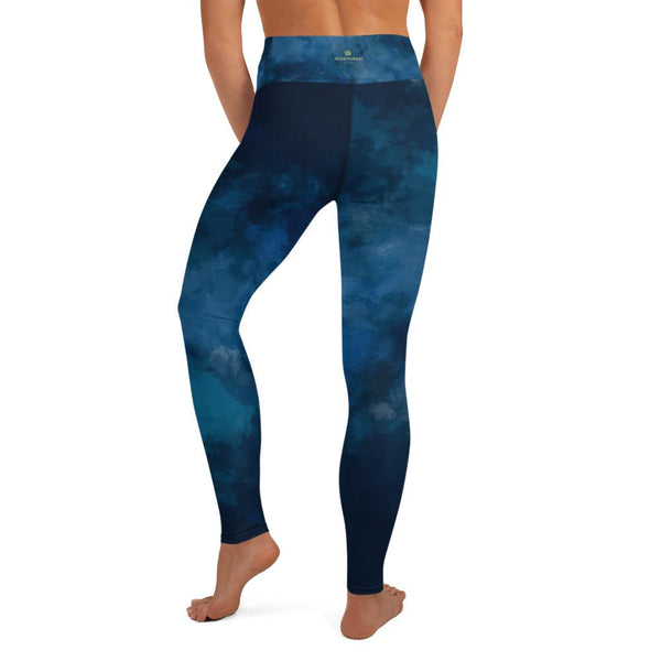 Blue Women's Long Yoga Leggings, Abstract Cloud Print Tights/Pants - Made in USA/ EU-Leggings-Heidi Kimura Art LLC