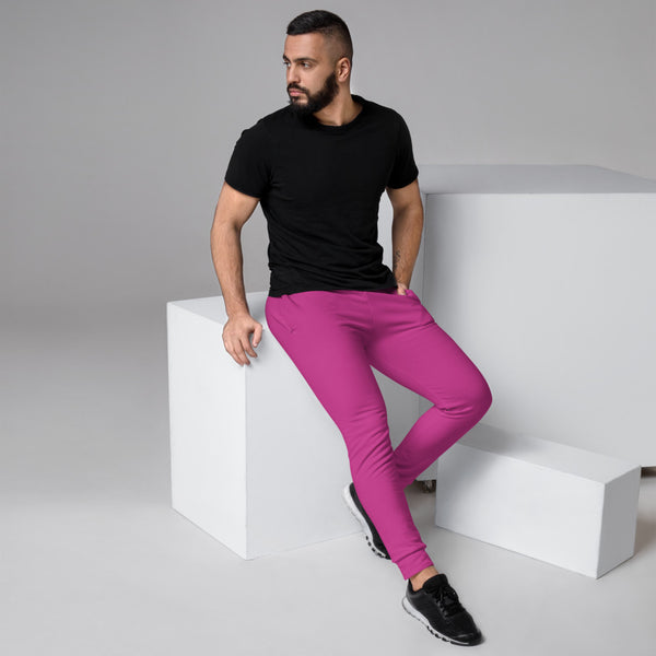 Hot Pink Men's Joggers, Solid Bright Pink Solid Color Sweatpants For Men, Modern Slim-Fit Designer Ultra Soft & Comfortable Men's Joggers, Men's Jogger Pants-Made in EU/MX (US Size: XS-3XL)