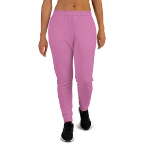 Rosy Pink Solid Color Print Premium Women's Slim Fit Sweatpants Joggers- Made in EU-Women's Joggers-XS-Heidi Kimura Art LLC Rosy Pink Women's Joggers, Rosy Pink Solid Pastel Color Premium Printed Slit Fit Soft Women's Joggers Sweatpants -Made in EU (US Size: XS-3XL) Plus Size Available, Solid Coloured Women's Joggers, Soft Joggers Pants Womens