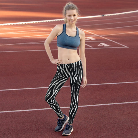 Zebra Print Women's Leggings, Casual Fancy Tights-Made in USA/EU-Heidi Kimura Art LLC-Heidi Kimura Art LLC Zebra Print Women's Leggings, Black White Animal Print Women's Long Dressy Fancy Premium Quality Casual Leggings/ Running Tights - Made in USA/EU (US Size: XS-XL)