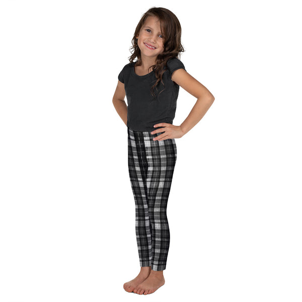 Black Plaid Print Designer Kid's Girl's Leggings Active Wear Pants (2T-7) Made in USA/EU-Kid's Leggings-Heidi Kimura Art LLC Black Plaid Kid's Leggings, Black Plaid Print Designer Kid's Girl's Leggings Active Wear 38-40 UPF Fitness Workout Gym Wear Pants (2T-7) Made in USA/EU, Girls' Leggings & Pants, Leggings For Girls, Designer Girls Leggings Tights, Leggings For Girl Child