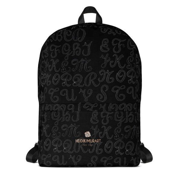 "Black Alphabet Print Backpack, Best Durable Fits 15"" Laptop Backpack- Made in USA/ EU-Backpack-Heidi Kimura Art LLC"
