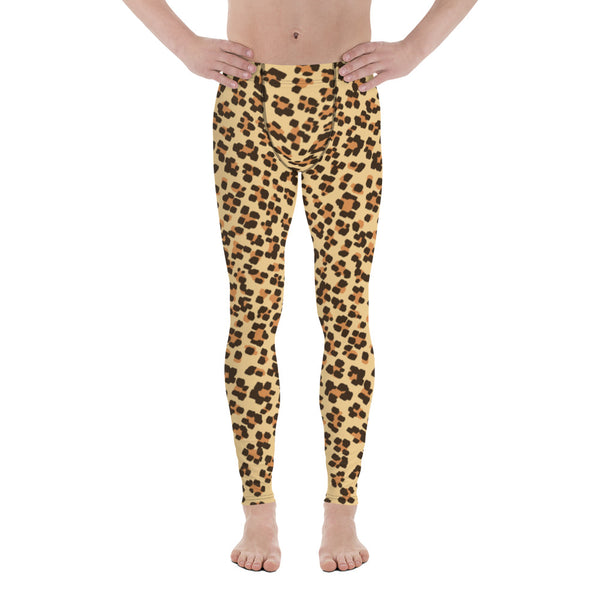 Brown Leopard Animal Print Fitted Elastic Men's Leggings Men Tights - Made in USA-Men's Leggings-XS-Heidi Kimura Art LLC