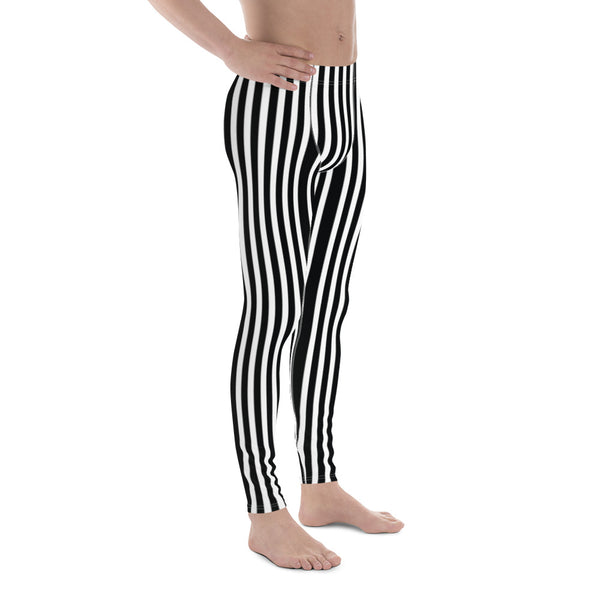 Vertical Stripes Print Men's Leggings, Essential Premium Striped Meggings-Heidikimurart Limited -Heidi Kimura Art LLC