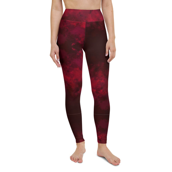 Red Abstract Long Yoga Leggings-Heidikimurart Limited -Heidi Kimura Art LLC Red Abstract Long Yoga Leggings, Modern Women's Gym Workout Active Wear Fitted Leggings Sports Long Yoga & Barre Pants - Made in USA/EU/MX (US Size: XS-6XL)