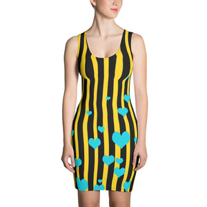 Designer Striped Print Black + Yellow Women's One-Piece Dress- Made in USA/ Europe-Women's Sleeveless Dress-XS-Heidi Kimura Art LLC