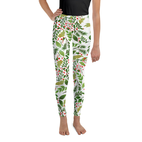 White Green Red Christmas Floral Print Premium Best Youth Leggings- Made in USA//EU-Youth's Leggings-8-Heidi Kimura Art LLC