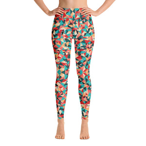 Red Geometric Women's Yoga Leggings, Mixed Colorful Ladies Yoga Pants-Heidikimurart Limited -XS-Heidi Kimura Art LLC Red Geometric Women's Yoga Leggings, Mixed Colorful Athletic Premium Quality Luxury Active Wear Fitted Leggings Sports Long Yoga & Barre Pants - Made in USA/EU/MX (US Size: XS-6XL)