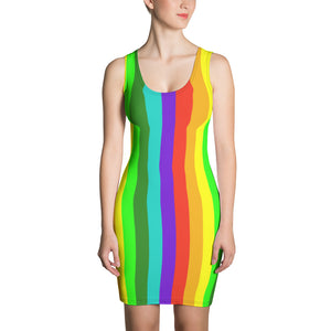 Gay Pride Striped Rainbow Colorful Women's Long One-Piece Dress- Made in USA/ Europe-Women's Sleeveless Dress-XS-Heidi Kimura Art LLC