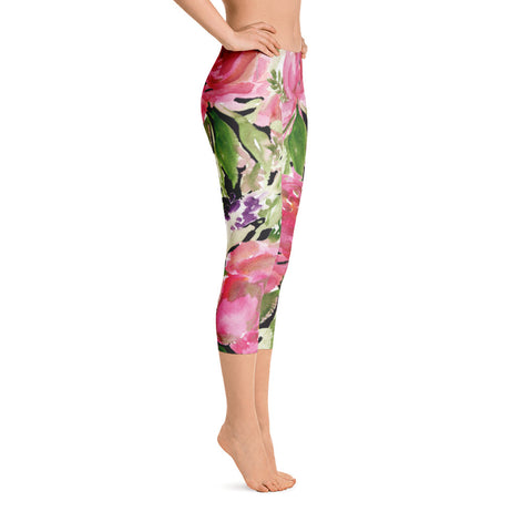 Pink Rose Floral Designer Women's Fashion Casual Capri Leggings - Made in USA-capri leggings-Heidi Kimura Art LLC Pink Rose Floral Capris Tights, Pink Rose Floral Designer Women's Fashion Casual Capri Leggings - Made in USA/EU/MX (US Size: XS-XL)