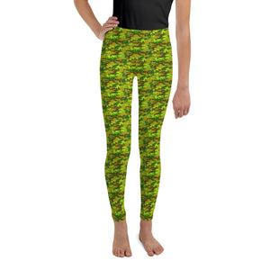 Bright Green Camouflage Military Army Print Designer Youth Leggings- Made in USA/EU-Youth's Leggings-8-Heidi Kimura Art LLC