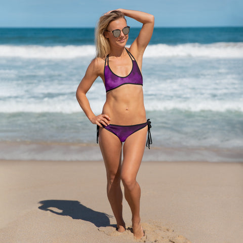 Purple Abstract Women's Bikini, Tie Dye Swimwear-Made in USA/EU-Heidi Kimura Art LLC-Heidi Kimura Art LLC Purple Abstract Women's Bikini, Tie Dye Abstract Print Bikini Ladies 2 pc Designer Swimsuit Swimwear- Made in USA/EU