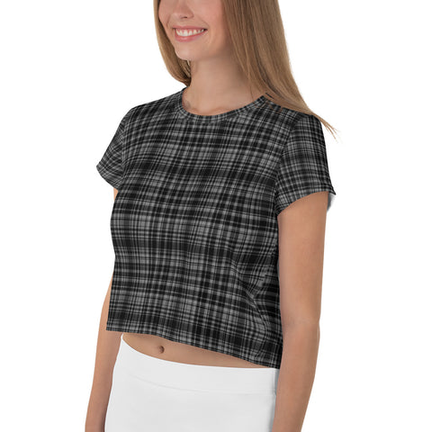 Classic Black Plaid Print Outfit Crop Tee Top Women's T-Shirt, Made in Europe-Crop Tee-Heidi Kimura Art LLC