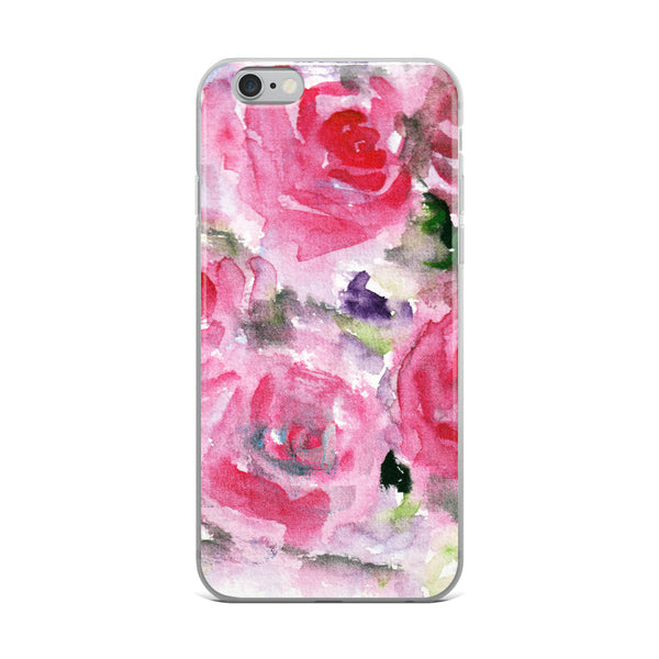 Hot Pink French Rose Floral Print iPhone X | XS | XR | XS Max | 8 | 8+ | 7| 7+ |6/6S | 6+/6S+ Case- Made in USA-Phone Cases-iPhone 6 Plus/6s Plus-Heidi Kimura Art LLC