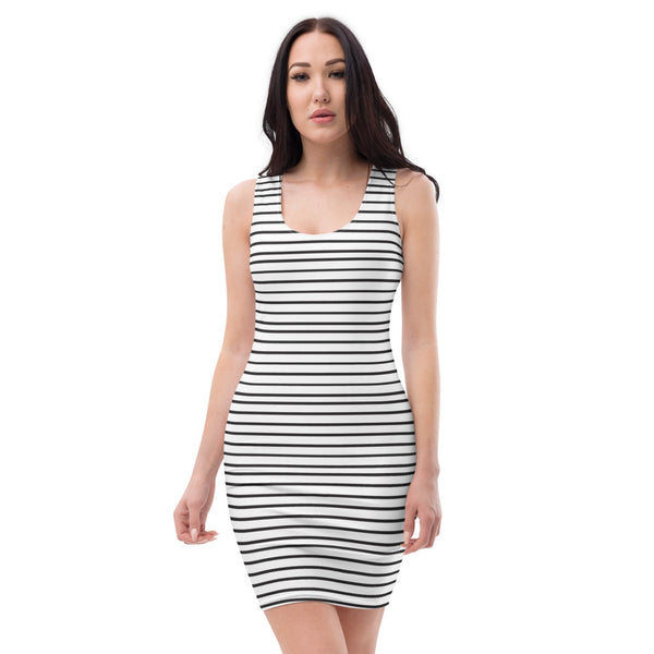 Black White Striped Dress-Heidikimurart Limited -XS-Heidi Kimura Art LLC Black White Striped Dress, Black White Horizontal Stripes Sailor Style Print Designer Bestselling Premium Quality Women's Sleeveless Dress-Made in USA/EU/MX (US Size: XS-XL) Best Striped Dress Outfit Ideas