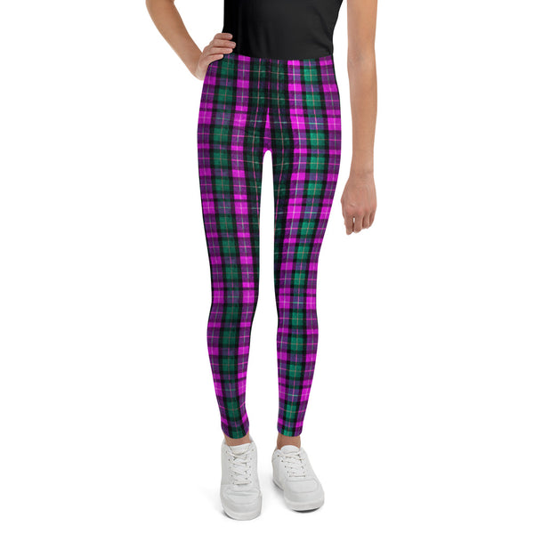 Girl Bottoms Winter Essentials Pink Plaid Sports Gym Youth Leggings, Made in USA/EU-Youth's Leggings-8-Heidi Kimura Art LLC