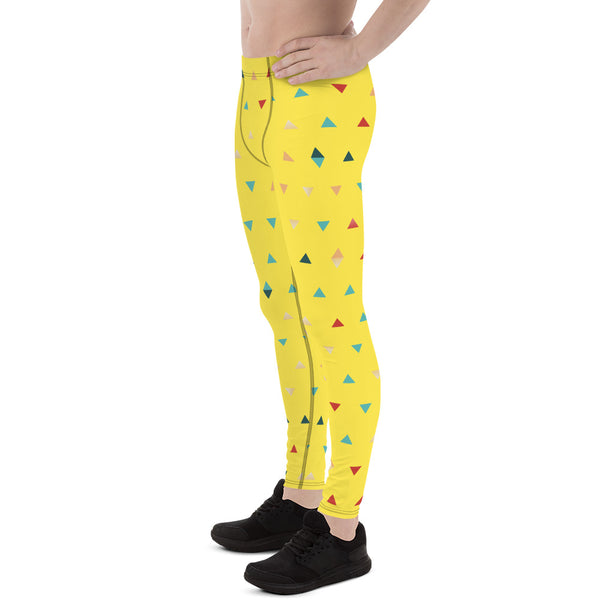 Bright Yellow Triangular Geometric Print Men's Yoga Pants Running Leggings & Tights- Made in USA/ Europe(US Size: XS-3XL)
