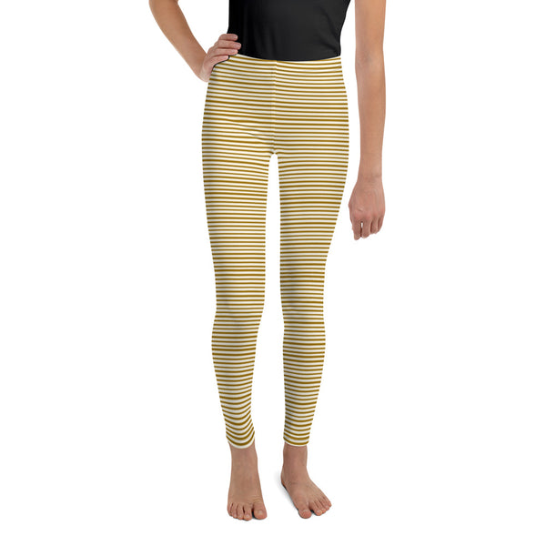 Dense Brown Light Yellow Horizontal Stripe Print Youth Leggings - Made in USA/ EU-Youth's Leggings-8-Heidi Kimura Art LLC