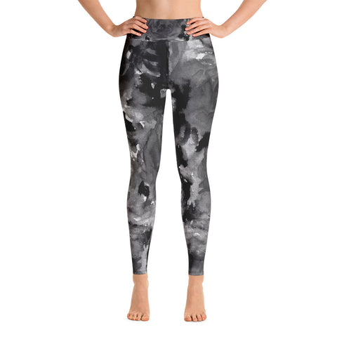 Grey Smokey Rose Floral Print Women's Yoga Leggings - Made in USA-Leggings-XS-Heidi Kimura Art LLC Grey Floral Rose Women's Leggings, Grey Smokey Rose Floral Ocean Print Yoga Leggings/ Long Yoga Pants - Made in USA (US Size: XS-XL)