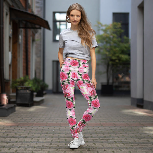 Pink Rose Women's Yoga Leggings-Heidikimurart Limited -Heidi Kimura Art LLC Pink Rose Women's Yoga Leggings, Floral Print Modern Women's Gym Workout Active Wear Fitted Leggings Sports Long Yoga & Barre Pants - Made in USA/EU/MX (US Size: XS-6XL)