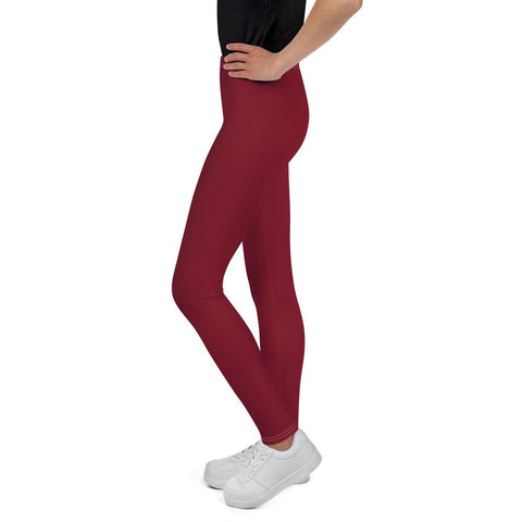 Burgundy Red Solid Color Print Premium Youth Leggings Gym Tights - Made in USA/EU-Youth's Leggings-Heidi Kimura Art LLC