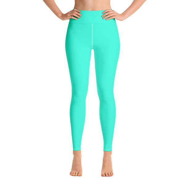 Women's Turquoise Blue Yoga Pants, Bright Solid Color Workout Tights, Made in USA/EU-Leggings-XS-Heidi Kimura Art LLC Turquoise Blue Women's Leggings, Women's Turquoise Blue Bright Solid Color Yoga Gym Workout Tights, Long Yoga Pants Leggings Pants,Plus Size, Soft Tights - Made in USA/EU, Women's Turquoise Blue Solid Color Active Wear Fitted Leggings Sports Long Yoga & Barre Pants (US Size: XS-XL)