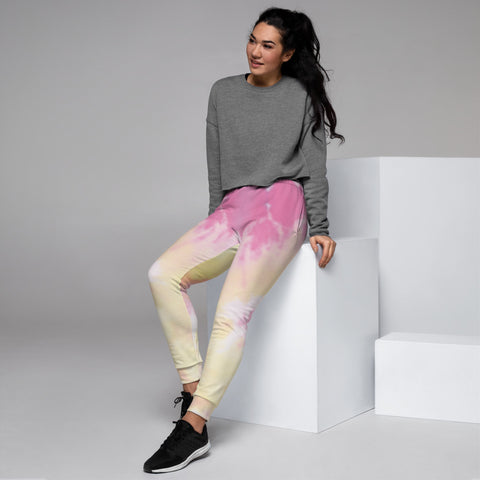 Pink Tie Dye Women's Joggers, Abstract Colorful Slit Fit Soft Women's Joggers Sweatpants -Made in EU (US Size: XS-3XL) Plus Size Available, Solid Coloured Women's Joggers, Soft Joggers Pants Womens, Women's Long Joggers, Women's Soft Joggers, Lightweight Jogger Pants Women's, Women's Athletic Joggers, Women's Jogger Pants