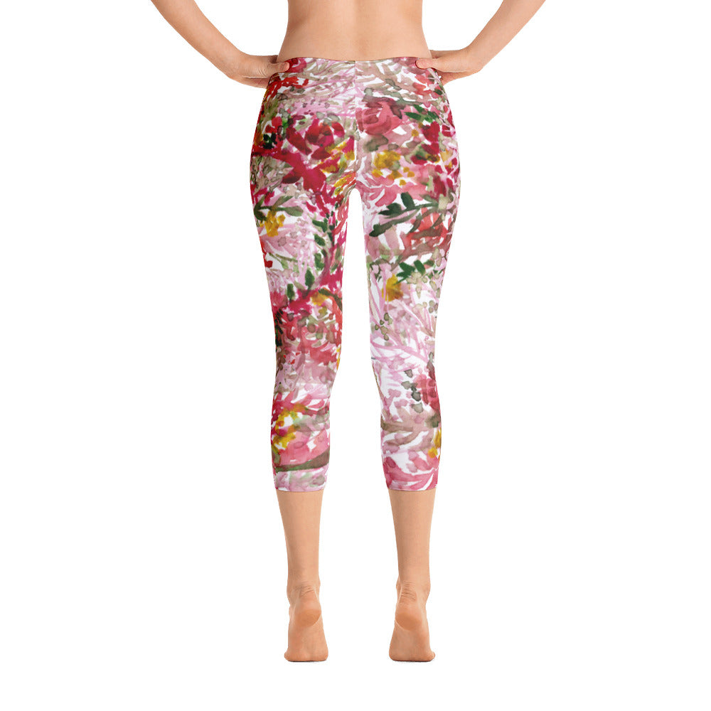 Fall Red Floral Capri Leggings Casual Fashion Activewear - Made in USA (US Size: XS-XL)-capri leggings-XS-Heidi Kimura Art LLC