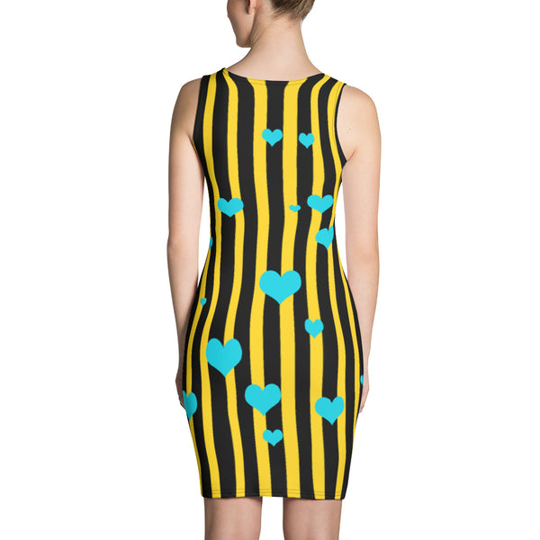 Designer Striped Print Black + Yellow Women's One-Piece Dress- Made in USA/ Europe-Women's Sleeveless Dress-Heidi Kimura Art LLC
