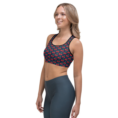 Blue Cherries Women's Sports Bra, Red Cherry Ladies Fitness Bra-Made in USA/EU-Heidi Kimura Art LLC-Heidi Kimura Art LLC
