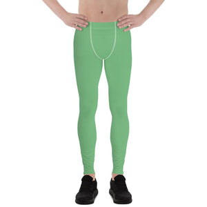 Fern Green Meggings Compression Men Tights Comfy Men's Premium Best Leggings-Men's Leggings-XS-Heidi Kimura Art LLC