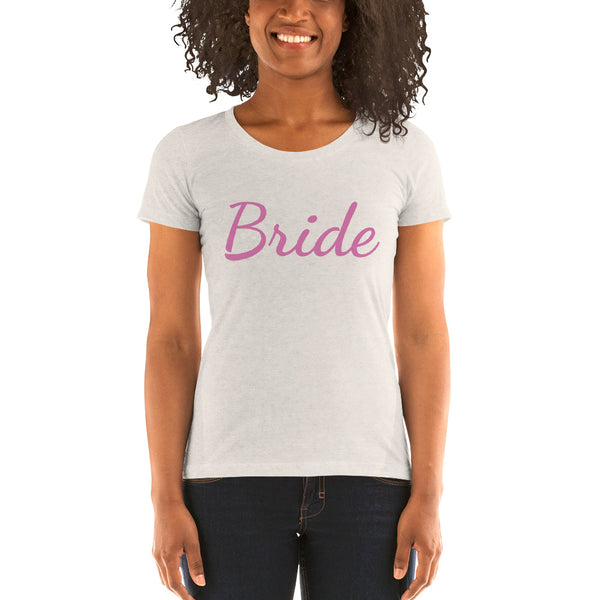 Bride/ Personalizable Custom Text Premium Personalizable Ladies' Short Sleeve T-Shirt-Women's T-Shirt-Oatmeal Triblend-S-Heidi Kimura Art LLC