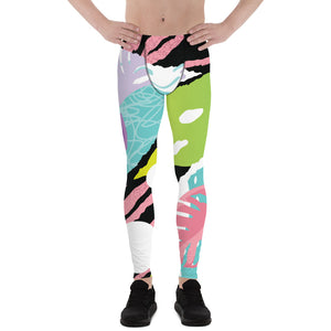 Tropical Leaf Print Designer Men's Leggings Tights Pants - Made in USA/EU (US Size: XS-3XL)-Men's Leggings-XS-Heidi Kimura Art LLC