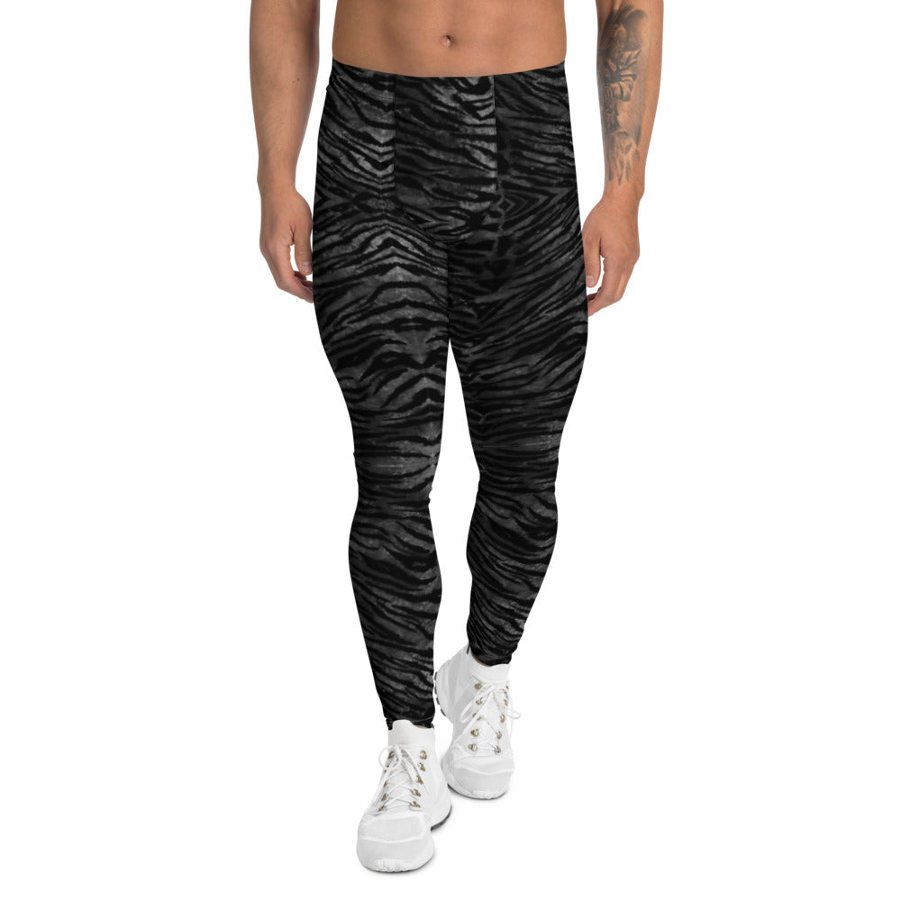 Black Tiger Striped Print Meggings, Sexy Animal Print Designer Men's Leggings-Heidikimurart Limited -XS-Heidi Kimura Art LLC Black Tiger Striped Print Meggings, Sexy Animal Print Designer Men's Leggings Tights Pants - Made in USA/MX/EU (US Size: XS-3XL) Sexy Meggings Men's Workout Gym Tights Leggings, Compression Tights