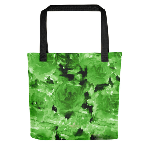 Danno Lime Green Rose Floral Designer AOP Tote Bag - Made in USA