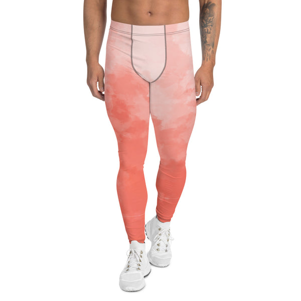 Coral Pink Abstract Men's Leggings-Heidikimurart Limited -XS-Heidi Kimura Art LLC Coral Pink Abstract Men's Leggings, Abstract Colorful Sexy Meggings Men's Workout Gym Tights Leggings, Men's Compression Tights Pants - Made in USA/ EU (US Size: XS-3XL) Costume Party Leggings, Rave Party Meggings