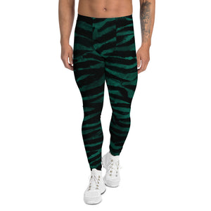 Green Tiger Stripe Men's Leggings, Tiger Animal Print Meggings Tights-Heidi Kimura Art LLC-XS-Heidi Kimura Art LLC Green Tiger Stripe Men's Leggings, Tiger Animal Print Sexy Meggings Men's Workout Gym Tights Leggings, Men's Compression Tights Pants - Made in USA/ EU (US Size: XS-3XL)