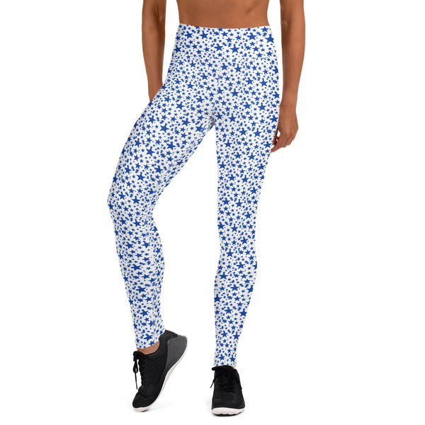 White Blue Stars Pattern Print Women's Designer Long Yoga Leggings Pants- Made in USA/EU-Leggings-Heidi Kimura Art LLC Blue Stars Women's Leggings, White Blue Stars Pattern Print  Premium Women's Active Wear Fitted Leggings Sports Long Yoga & Barre Pants, Sportswear, Gym Clothes, Workout Pants - Made in USA/ EU (US Size: XS-XL)