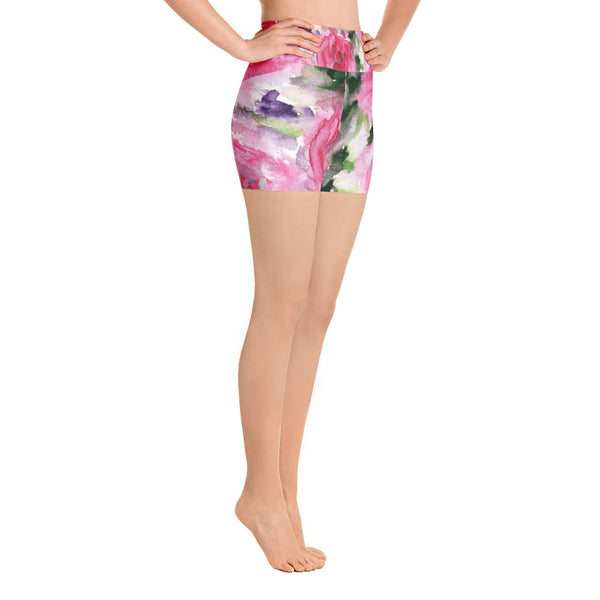 Warrior Strength Pink Floral Print Yoga Shorts - Made in the USA (US Size: XS-XL)-Yoga Shorts-Heidi Kimura Art LLC Pink Rose Floral Yoga Shorts, Pink Floral Print Yoga Short Tights, Warrior Strength Pink Floral Print Yoga Shorts - Made and Designed in the USA (US Size: XS-XL)