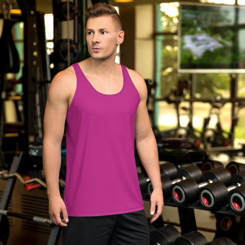 Hot Pink Solid Color Print Premium Unisex Gay Man Friendly Tank Top - Made in USA-Men's Tank Top-XS-Heidi Kimura Art LLC