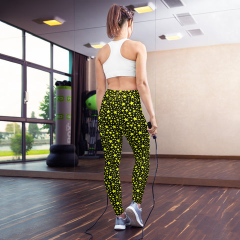 Yellow Rock Star Pattern Print Black Women's Designer Yoga Leggings- Made in USA/EU-Leggings-Heidi Kimura Art LLC Yellow Star Women's Leggings, Yellow Rock Star Pattern Print Premium Women's Active Wear Fitted Leggings Sports Long Yoga & Barre Pants, Sportswear, Gym Clothes, Workout Pants - Made in USA/ EU (US Size: XS-XL)