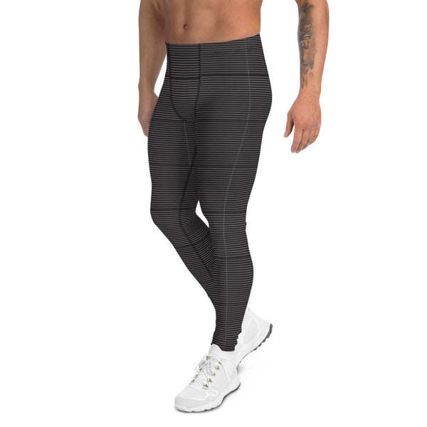 Black Striped Modern Men's Leggings, Monochrome Classic Meggings Tights For Men-Heidikimurart Limited -Heidi Kimura Art LLC Black Striped Modern Men's Leggings, Black Horizontally Striped Print Meggings, Monochrome Classic Sexy Meggings Men's Workout Gym Tights Leggings, Men's Compression Tights Pants - Made in USA/ EU/ MX (US Size: XS-3XL)