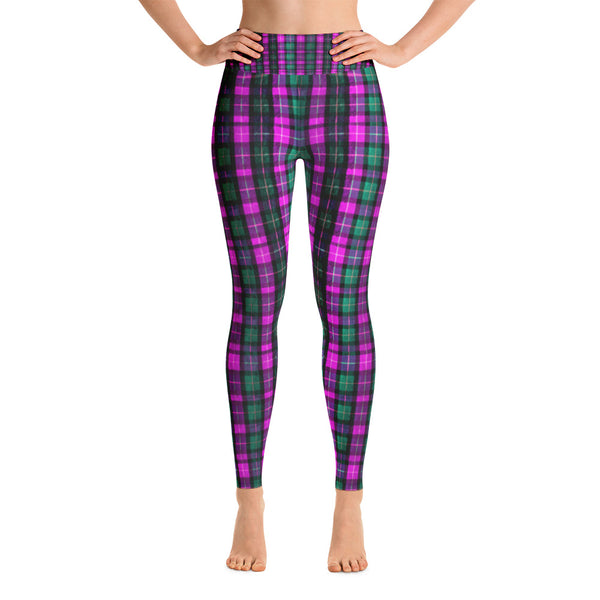 Pink Plaid Women's Leggings, Women's Pink Plaid Active Wear Fitted Leggings Sports Long Yoga Pants - Made in USA/EU (US Size: S-XL) Women's Pink Plaid Active Wear Fitted Leggings Sports Long Yoga Pants - Made in USA (S-XL)-Leggings-XS-Heidi Kimura Art LLC
