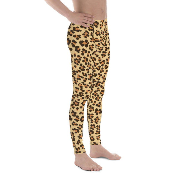 Brown Leopard Animal Print Fitted Elastic Men's Leggings Men Tights - Made in USA-Men's Leggings-Heidi Kimura Art LLC