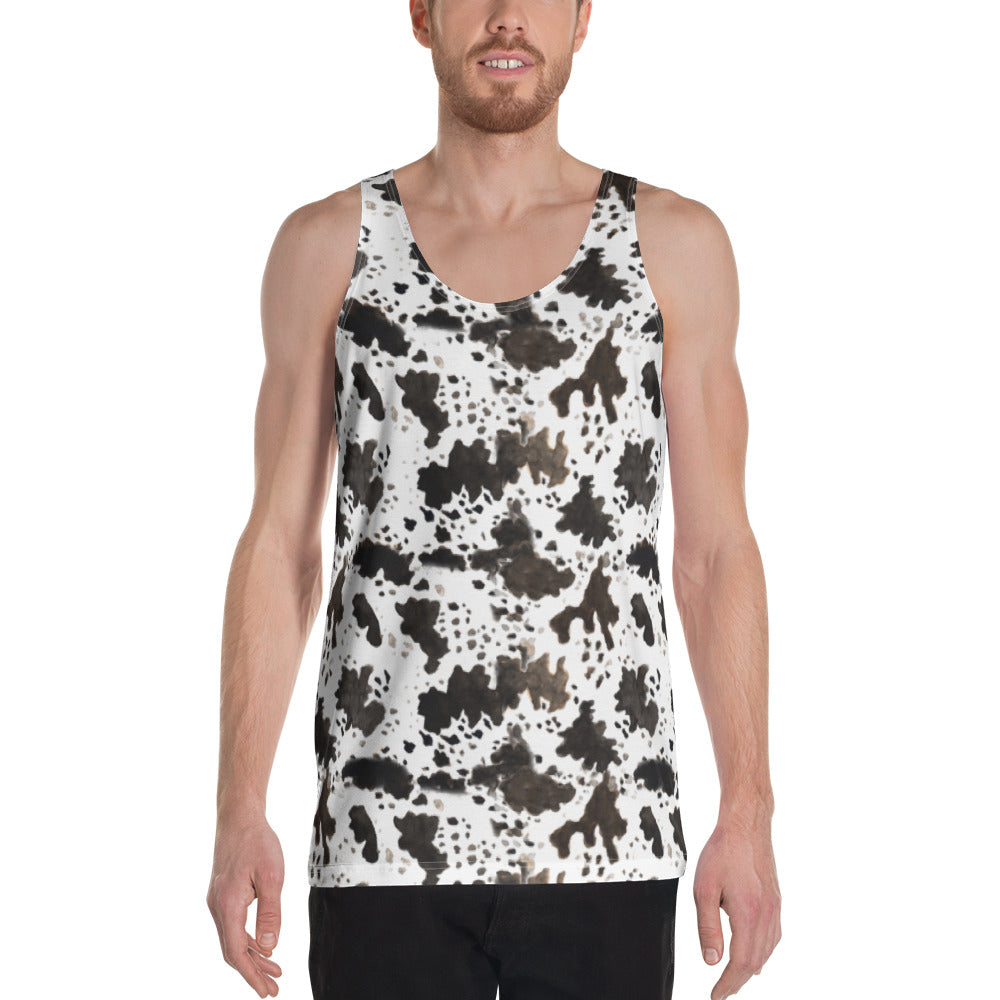 White Brown Cow Print Animal Unisex Premium Quality Luxury Men's Tank Top-Men's Tank Top-XS-Heidi Kimura Art LLC