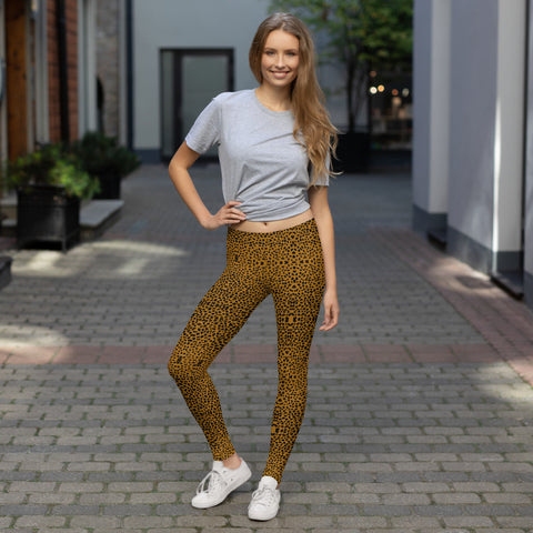 Brown Cheetah Yoga Leggings, Women's Fancy Dressy Fashion Tights-Made in USA/EU-Heidi Kimura Art LLC-Heidi Kimura Art LLC Brown Cheetah Yoga Leggings, Animal Print Women's Long Dressy Fancy Premium Quality Casual Leggings/ Running Tights - Made in USA/EU (US Size: XS-XL)
