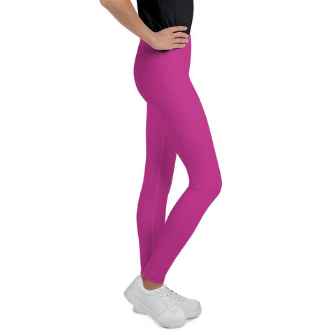Cute Bright Pink Solid Color Premium Youth Gym Tights Pants Leggings- Made in USA/EU-Youth's Leggings-Heidi Kimura Art LLC
