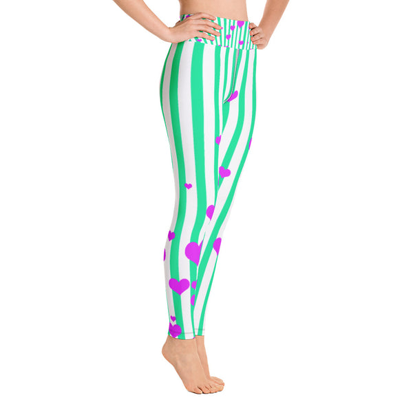 Women's Turquoise Blue Pink Striped Hearts Long Yoga & Barre Pants- Made in USA-Leggings-Heidi Kimura Art LLC Blue Striped Women's Leggings, Women's Turquoise Blue Pink Striped Hearts Active Wear Fitted Leggings Sports Long Yoga & Barre Pants - Made in USA/EU (US Size: XS-XL)