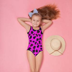 Pink Cow Girl's Swimwear, Cute Bright Pink Farm Cow Animal Print Girl's Kids Premium Swimwear Sportswear Swimsuit - Made in USA (US Size: 2T-7)