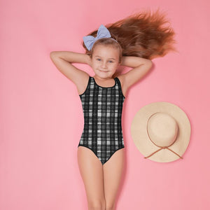 Gray Tartan Plaid Girl's Swimwear, Classic Gray Black Plaid Tartan Print Girl's Kids Luxury Premium Modern Fashion Swimsuit Swimwear Bathing Suit Children Sportswear Bathing Suits- Made in USA/EU (US Size: 2T-7) Gray Black Tartan Plaid Print Girls Kids Swimsuit Swimwear Bathing Suits -Made in USA/EU-Kid's Swimsuit (Girls)-2T-Heidi Kimura Art LLC